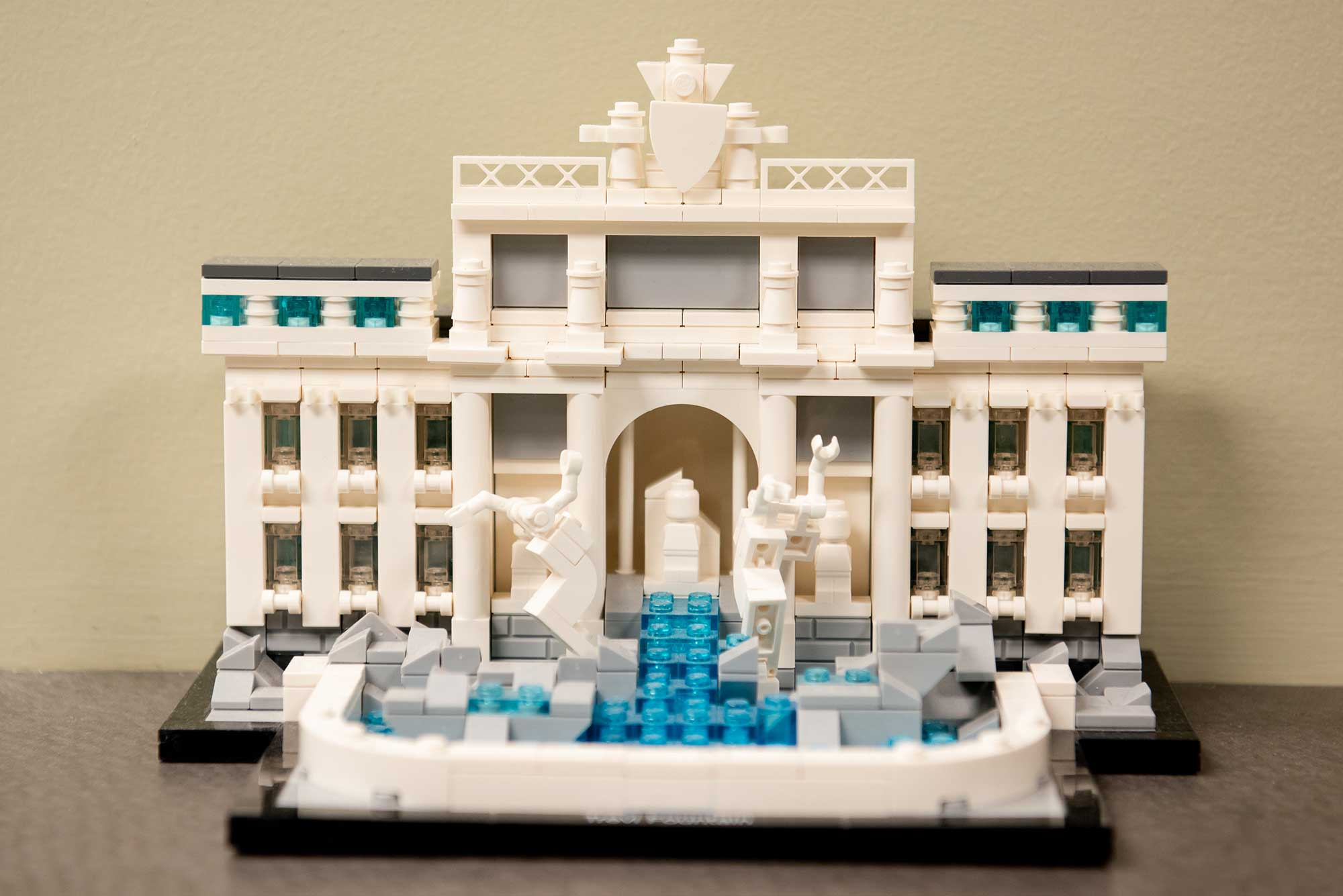 Lego Trevi Fountain at the front desk